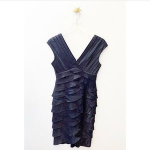 adrianna papell / gray shimmer ruffle tiered dress